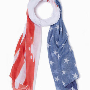 ❤️ 5/$25 ❤️ White Stars and Stripes Oblong Scarf